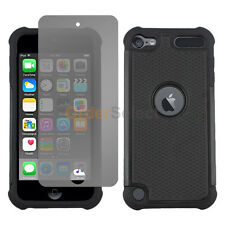 Hybrid Rugged Rubber Hard Case+LCD Screen Guard for Apple iPod Touch 6 6th Black