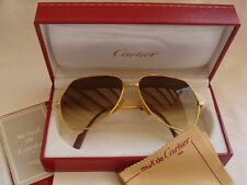 NEW VINTAGE CARTIER SANTOS SCREWS 59MM MEDIUM SUNGLASSES FRANCE 18K HEAVY PLATED