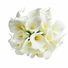 White 20pcs Home Decor Head Real Touch Calla Lily Bridal Flowers Bouquet Wedding