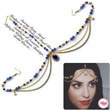 Head Hair Piece Indian Gold Royal Blue Costume Jewellery Matha Patti Scarf Hijab