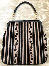 Vintage RONAY Brown Black Velvet Striped/Floral TAPESTRY Carpet Bag Purse Tote!