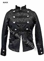 Black Military Gothic Steampunk Victorian Brocade Jacket Coat Size 10-14