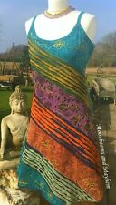 NEW HIPPIE VEST DRESS SIZE 12 / 14 BOHEMIAN YOGA SKIRT GYPSY TURQUOISE TOP SKIRT
