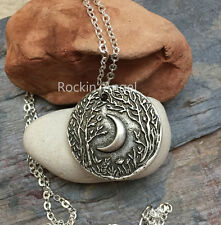 925 Antique Silver Plt Woodland Moon Pendant Necklace Pagan Wiccan Celtic Norse