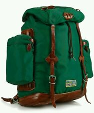 NWT POLO RALPH LAUREN YOSEMITE PINE GREEN BACKPACK $350 VINTAGE LEATHER/NYLON