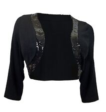 eVogues Plus Size Sequin Trim 3/4 Sleeve Cropped Bolero Shrug Black 3X