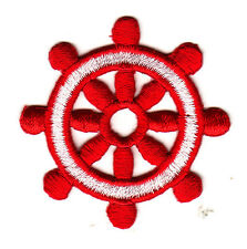 NAUTICAL-SHIP'S WHEEL, RED w/WHITE -BOAT - SAILING -  Iron On Embroidered Patch
