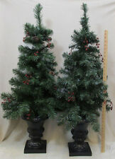 Pair Artificial Potted Pine Trees Christmas Unlit 42 Inch Outdoor Indoor Decor