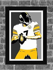 Pittsburgh Steelers Ben Roethlisberger Portrait Sports Print Art 11x17