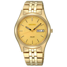 New Seiko SNE036 Stainless Steel Gold Tone Solar Men's Watch