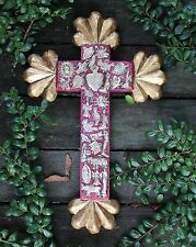 Medium Red Carved Wooden Cross & Gold Ends, Milagros Mexican Folk Art Michoacán