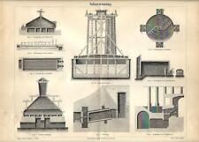 Stampa antica ESTRAZIONE DEL SALE impianto attrezzature 1890 Old antique print