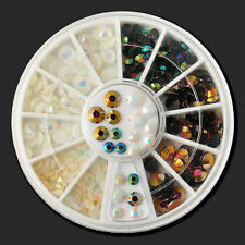 3D Nail Art Deco Black White Multicolor illusion Glitter Rhinestone 300pcs