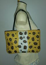 RARE VINTAGE Y & S Y&S ORIGINAL BEADED LEOPARD TOTE BAG SHOPPER UNIQUE HANDBAG