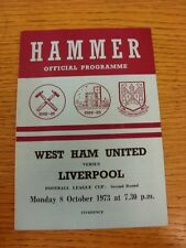 08/10/1973 West Ham United v Liverpool [Football League Cup] . Thanks for viewin