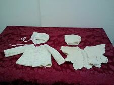 2 Pc Lot Set Antique Handmade Crochet Baby Sweater Set Newborn Sweater Hat ✞