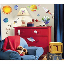 OUTER SPACE wall stickers 35 decals Rocketship Sun Planets Universe room decor
