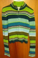 NEXT ERA youth med zipper-down cardigan sweater lime-green stripes kids mock