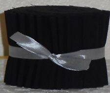 "Jelly Roll New SOLID Black Dream Cotton Pre cut fabric Strips 2.5""XWOF Patchwork"