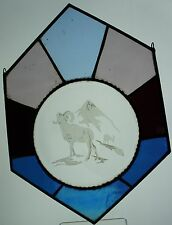 VINTAGE Stained Glass Hanging Suncatcher Blue/Lavender Ram Mountain Etched