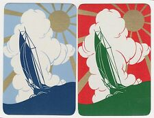 2 SINGLE VINTAGE SWAP PLAYING CARDS GOLD SUN RAY DECO SAIL BOAT WATER SCENES