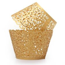 12X Filigree Vine Cake Cupcake Wrappers Wraps Cases Gold YM