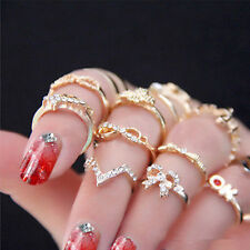 7pcs/Set Fashion Crystal Bowknot Knuckle Midi Mid Finger Tip Stacking Rings