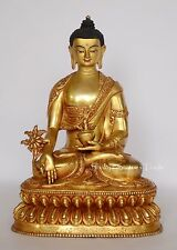 "8.5"" Medicine Buddha Gold Gilded with Face Painted Copper Statue frm Patan Nepal"