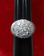 UNISEX 14K WHITE GOLD WIDE DOME STYLE 1.0 TCW DIAMOND CLUSTER RING - SIZE 8.75