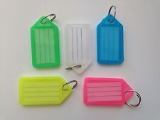 5x KEY Coloured Plastic Rings ID Name Card FOB Label Hotel Car Keyring Tag