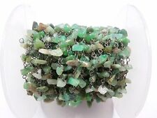 3 Feet Chrysoprase Chips Freeform Rosary Beaded Chain Black Plated Wire 3-5mm
