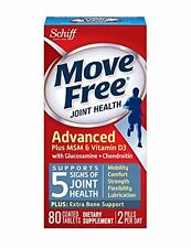 2 Pack Move Free Joint Health Advanced Plus MSM & Vitamin D3 80 Tablets Each