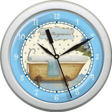 """Personalized Tub Time 10 Blues and Grteens 10.75""""  Wall Clock Bath Decor Gift"""