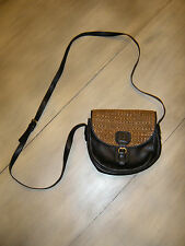 Vintage Bally Bag Cross Body Purse Messenger Black Leather Gold Wicker Weave