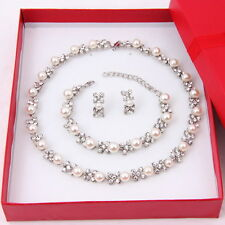 Fashion Pearl Necklace Earring Bracelet Set Wedding Pearls Crystal Jewelry Sets