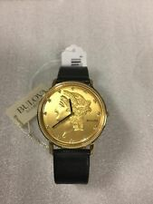 New Bulova Men's 140th Anniversary Liberty Gold Tone Diamond Watch 97D105