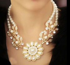 Hot Charm Jewelry Crystal Pearl Flower Choker Statement Necklace Women Gift