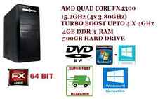 DESKTOP PC AMD QUAD CORE FX-4300 UPTO 4.0 GHZ X 4, 500 GB HDD, 4GB RAM, DVDRW