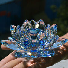 100mm Blue Quartz Crystal Glass Lotus Flower Sphere Crystals With Gift Box