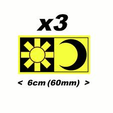 Valentino Rossi calcomanía 3 X Fluorescente Amarillo Sol Luna 60mm pegatinas Adhesivos