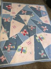 RARE POTTERY BARN KIDS SOPHIE BUTTERFLY TWIN Quilt Pink Blue