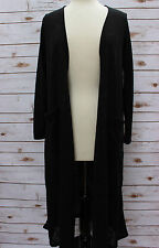 XS LuLaRoe Sarah Solid Black Non-Ribbed Lightweight Duster Cardigan NWT