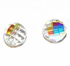 SCD117f CRYSTAL AB Faceted Chessboard Round 8mm Swarovski Beads 2/pkg