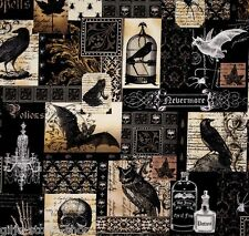 Nevermore Collage Gothic Patchworkstoffe Stoffe Halloween Deko Totenkopf Fabric