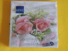 1 Packung 20 Servietten ROSEN rosa MUSIK noten 1/4 Rose roses napkins paket ovp