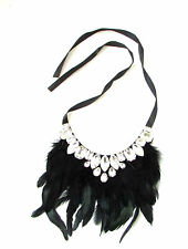 Black Silver Feather Necklace 1920s Great Gatsby Flapper Vintage Art Deco 30s 65