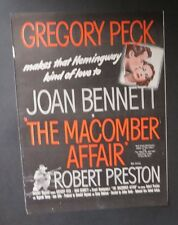 Original Print Ad 1947 Movie Ad THE MACOMBER AFFAIR Gregory Peck Robert Preston