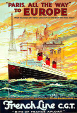 Art Ad French Line  Paris to New York Ship  Cruise Travel Deco   Poster Print