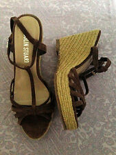 Colin Stuart CHOCOLATE SUEDE Wedge Platform Shoes T-Strap brown 7.5 B NWOB