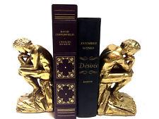 """Vintage Hollywood Regency Brass """"THINKER"""" Set of  2 Bookends"""